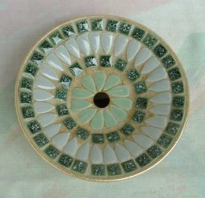 Mosaic Ashtray Round Shades of Green Vintage