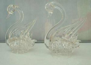 Pair 2 Miniature Crystal Swan Figurals Hand Blown