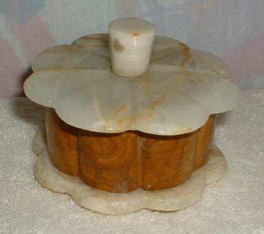 Round Alabaster Onyx Trinket Box Scalloped Edges Brown Home Decor