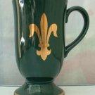 Hornsea Pottery Cup Hunter Green Fleur de Lis Design Coffee Tea Mug Made in England