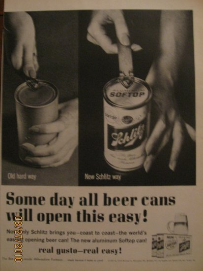 Schlitz Beer 1962 Authentic Print Ad