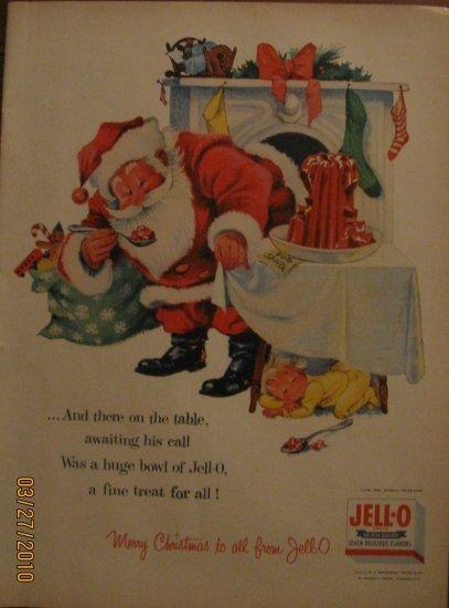 Jell-O Santa 1955 Authentic Print Ad