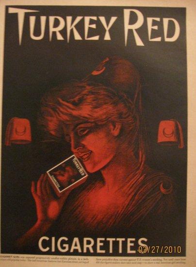 Turkey Red  Cigarettes 1950 Authentic Print Ad