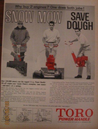Toro Power Handle 1962 Authentic Print Ad