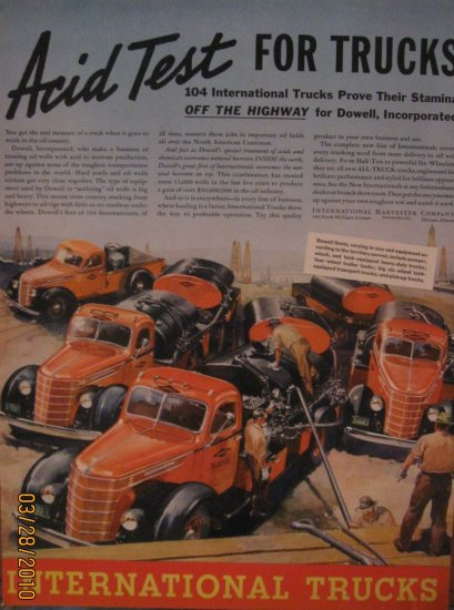 International Trucks 1938 Authentic Print Ad