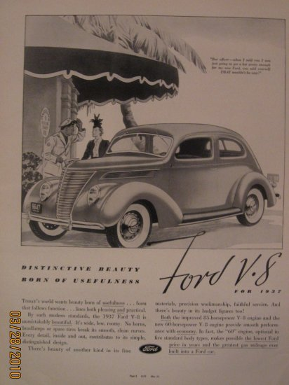 Ford V8 1937 Authentic Print Ad