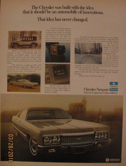 Chrysler Newport  1972 Authentic Print Ad