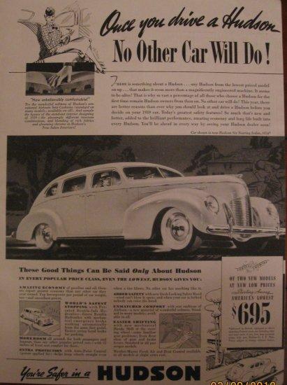 Hudson 1939 Authentic Print Ad