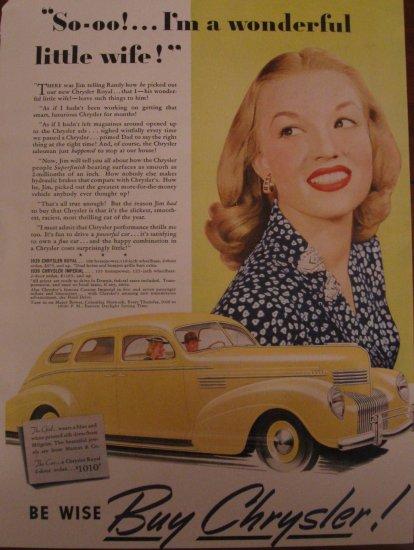 Chrysler Royal 1939 Authentic Print Ad