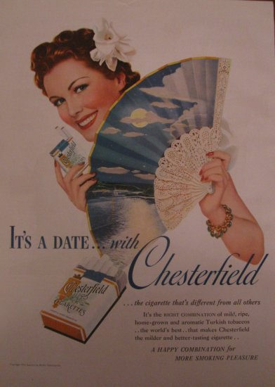 Chesterfield Cigarettes 1939 Authentic Print Ad