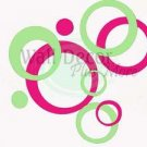 Wall Decor 40+Sticker Circle Bubbles Hot Pink & Mint Gr