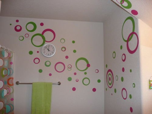 Kids Wall Sticker Circles 50  pcs Lime Hot Pink 11 inch
