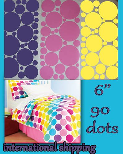 "Wall Vinyl Polka Dots 90 Stickers 6"" Removable Kids"