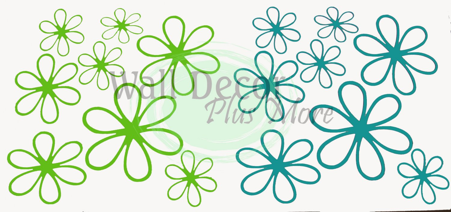 Girls Wall Vinyl Flower Stickers Decal Daisy Floral 6""