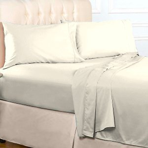 1000 TC Royal Egyptian Cotton 7PC IVORY Bedding Set Queen Size