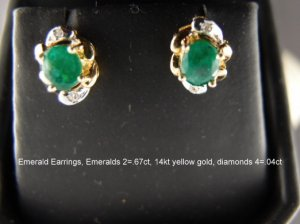 Emerald Earrings, Emerald ovals 2=.67ct total