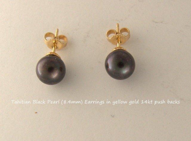 Tahitian Black Pearl (8.4mm) Earrings with 14kt Gold Earrings