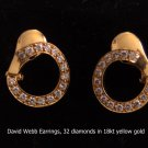 David Webb Earrings, 32 diamonds in 18kt yellow gold
