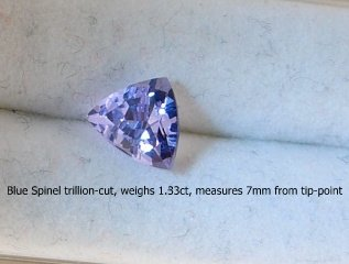 Natural Blue Spinel trillion-cut, that weighs 1.33ct
