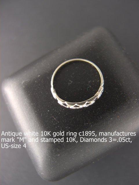 Antique Ring 10K  white gold c1895