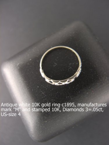 Antique Ring 10K  white gold c1895