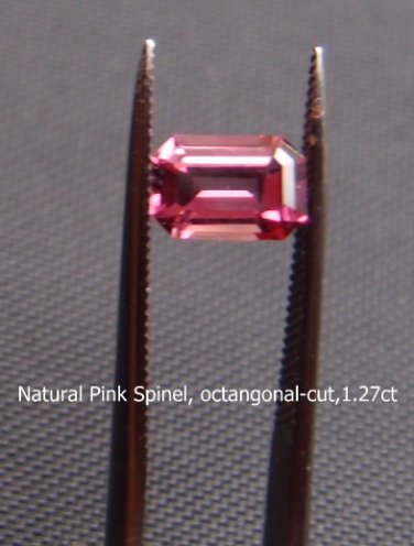 Natural Pink Spinel, Emerald-cut,1.27ct. weight