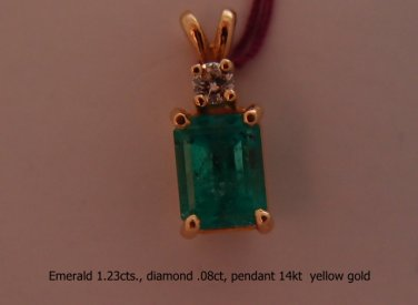 Pendant, Emerald weighs 1.23 cts,Diamond weighs.08 ct