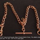 Pocket Watch Chain, Victorian English 9 carat Solid Gold 35.6 cm long