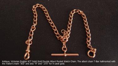 Pocket Watch Chain, Victorian English 9 carat Solid Gold 35.6 cm