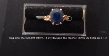 Ring, blue sapphire 4.02cts, US  finger size 6-1/2