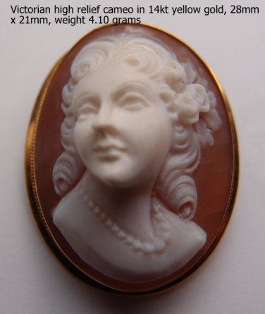 Victorian high relief cameo in 14kt yellow gold