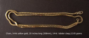 Chain, 14-kt yellow gold, 20 inches long (508mm)
