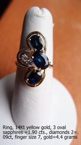 Ring, Three Sapphires and Two Diamonds