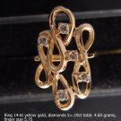 Ring 14-kt yellow gold, diamonds 5=.19 ct. total.