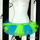 DIY Neon Green Blue Striped 80's Adult TuTu Tulle Skirt large
