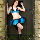 Electric Blue Black Striped Micro Mini Adult TuTu Tulle Skirt Cyber Medium