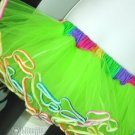 Lime Green Rainbow TuTu Tulle Skirt 80's Retro large