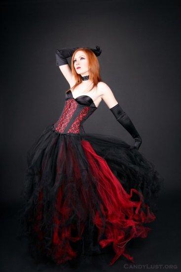 Red Formal Gothic Wedding Tulle Skirt Adult medium