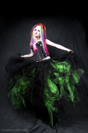 Neon Green Formal Gothic Wedding Tulle Skirt Adult small