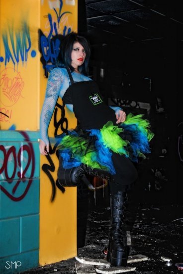 Ragged Neon Green Blue Black Retro 80's Adult TuTu Tulle Skirt Medium