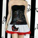 Evil Kitty PinStripe Red Mini Skirt