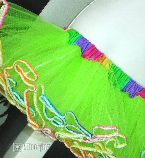 Lime Green Rainbow Adult TuTu Tulle Skirt 80's Retro Large