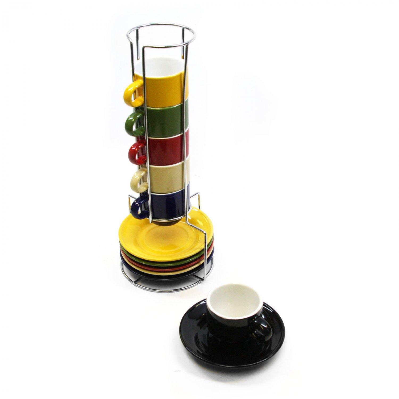 Mr. Espresso Basics 12 pc Espresso Cup Mug Saucer Set With Caddy Assorted Color