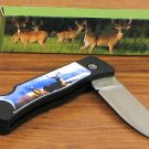 Foldable Deer Scene Stylish and Trendy Knife with Lock Blade Light Weight