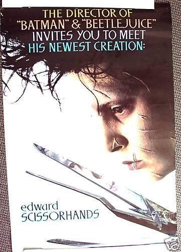 EDWARD SCISSORHANDS Original 2 SIDED Poster JOHNNY DEPP