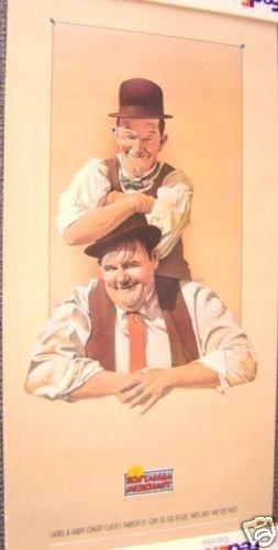 LAUREL & HARDY Orignal ADVERTISING Poster HAL ROACH '85