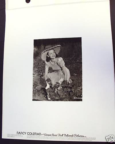 NANCY COLEMAN Original WARNER BROS. Key Set PHOTO 1940s