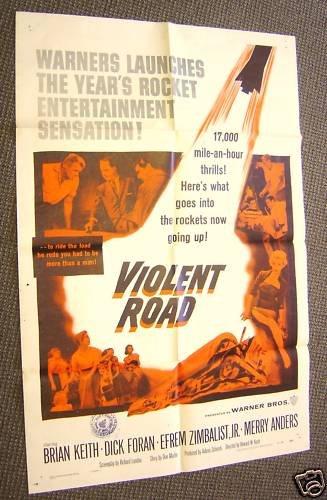 VIOLENT ROAD  Original POSTER Merry Anders  BRIAN KEITH
