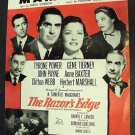 GENE TIERNEY Tyrone Power RAZOR'S EDGE Sheet Music 1947