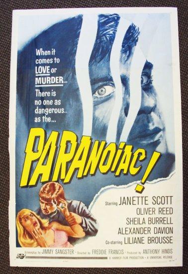 PARANOIAC 1-Sheet HAMMER FILMS Poster OLIVER REED 1963